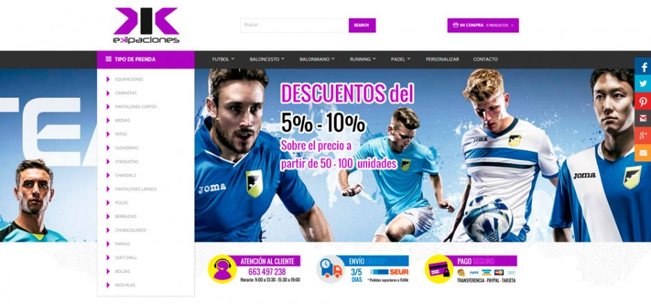 60% barato gran descuento online aquí Ekipaciones y ropa deportiva - Tienda online